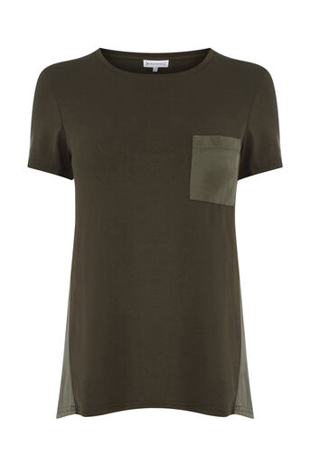 Warehouse, CUPRO MIX POCKET TEE Khaki 0