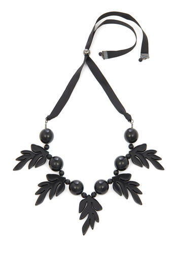 Warehouse, LEAF STATEMENT NECKLACE Black 0