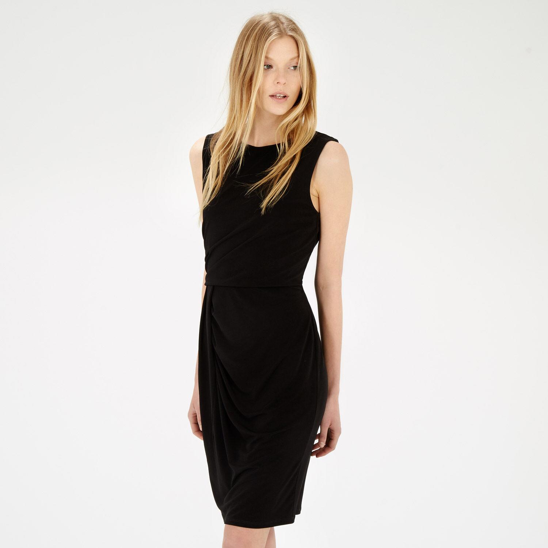 Warehouse, SLINKY DRAPE DRESS Black 1
