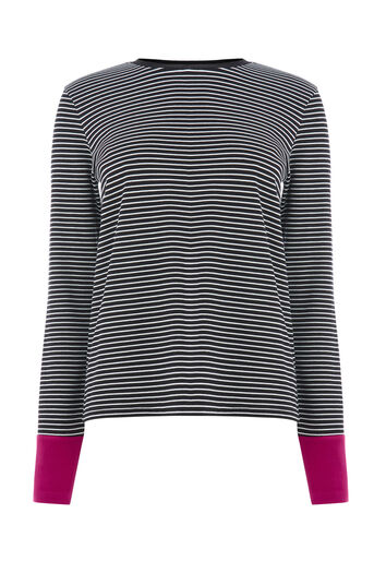Warehouse, CONTRAST CUFF STRIPE TOP Black Stripe 0