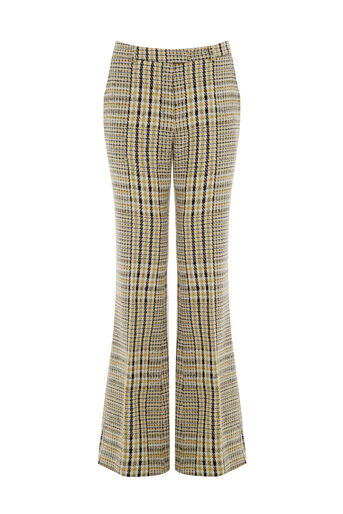 Warehouse, CHECK FLARED TROUSERS Yellow 0