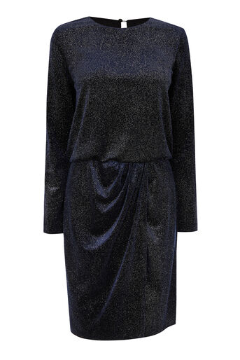 Warehouse, GLITTER VELVET DRAPE DRESS Navy 0