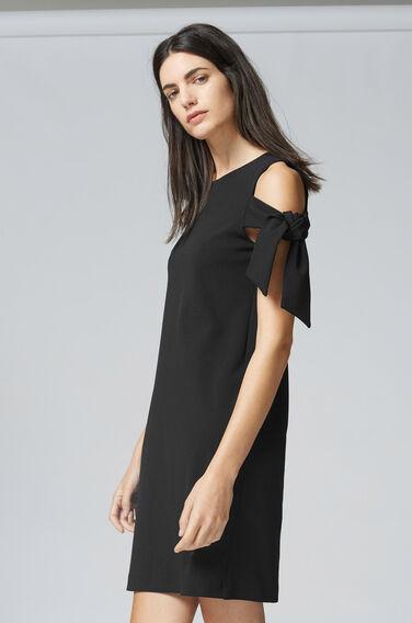 Warehouse, CREPE TIE SHOULDER DRESS Black 1