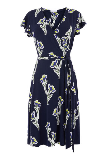 Warehouse, IRIS FLUTE SLEEVE WRAP DRESS Blue Pattern 0
