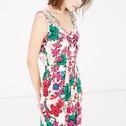 Warehouse, Floral Wrap Midi Dress Neutral  Print 4