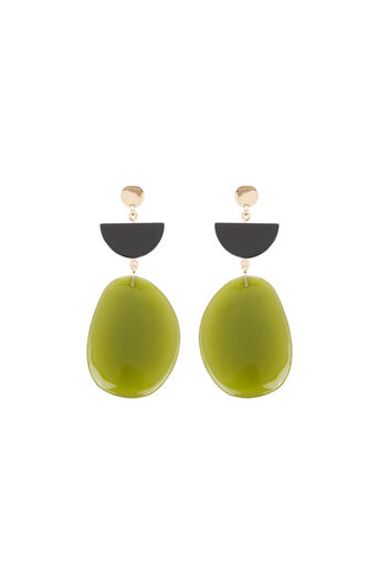 Warehouse, Pebble Drop Earrings Bright Green 0