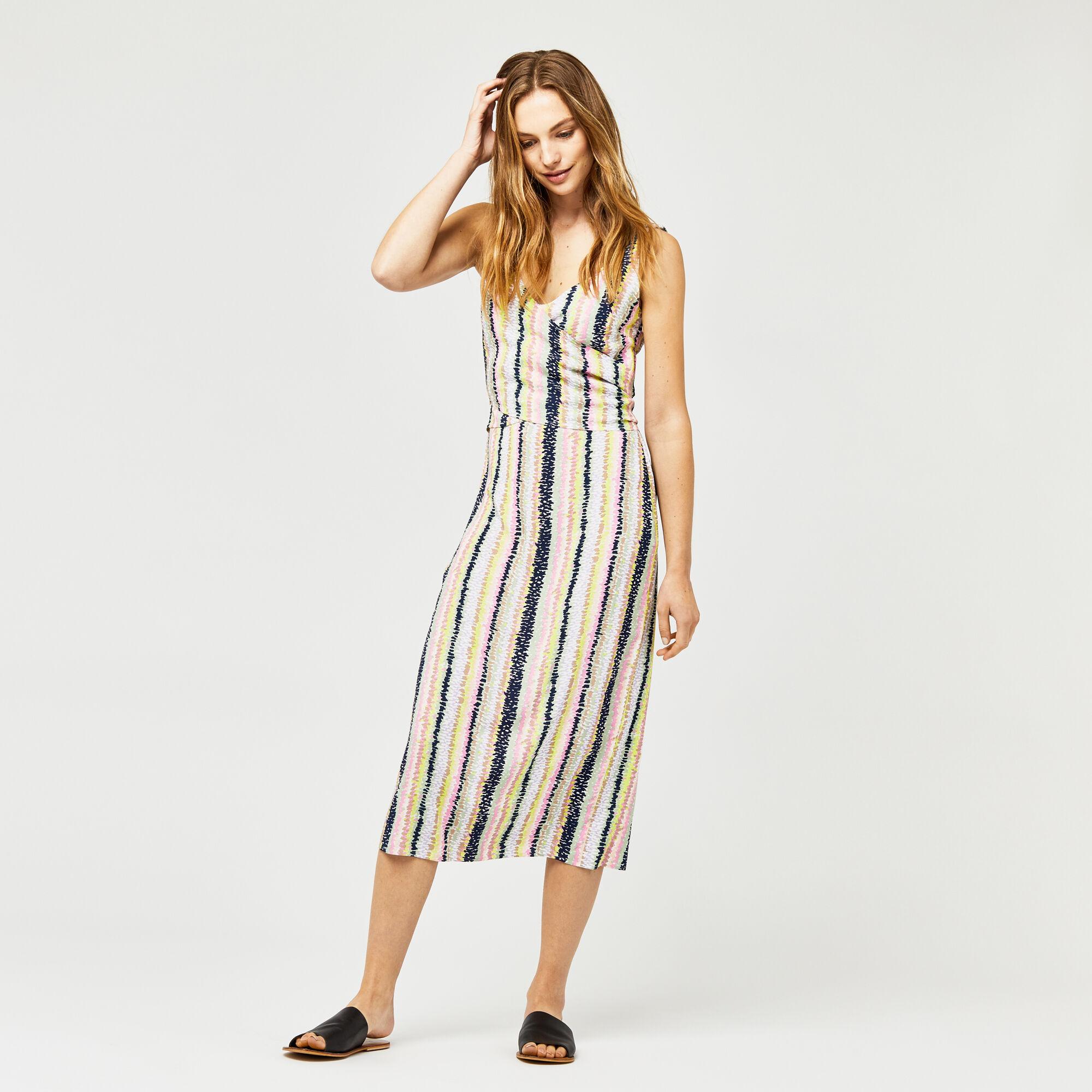 Warehouse, DASH STRIPE WRAP DRESS Pink Stripe 1