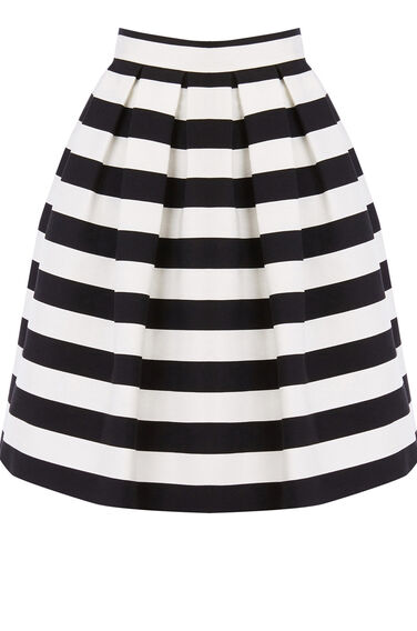 Warehouse, STRIPE PROM SKIRT Black Stripe 0