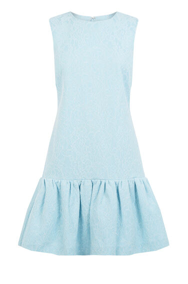 Warehouse, BONDED LACE PEPLUM DRESS Light Blue 0