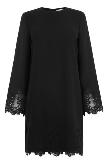Warehouse, LACE DETAIL SHIFT DRESS Black 0