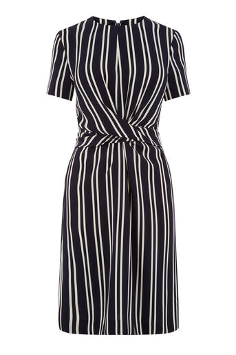 Warehouse, STRIPE TWIST FRONT DRESS Blue Stripe 0