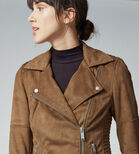 Warehouse, Suedette Biker Jacket Tan 4