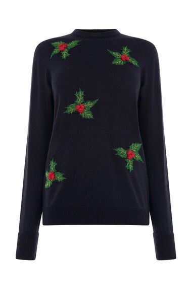 Warehouse, HOLLY CHRISTMAS JUMPER Navy 0