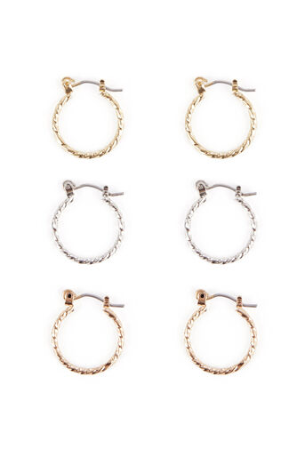 Warehouse, TWIST HOOP EARRING 3PK Multi 0