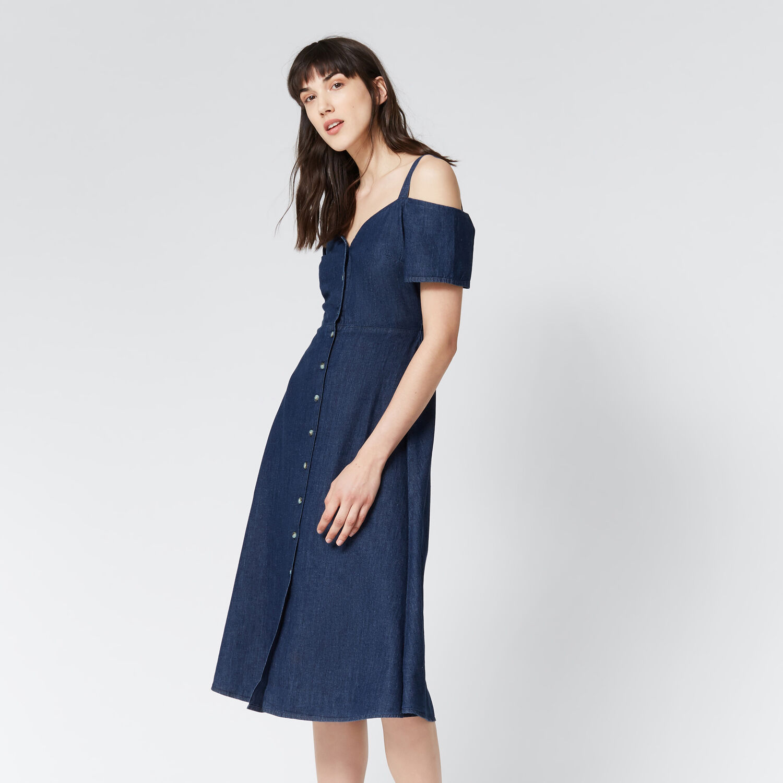 Warehouse, Sweetheart Cut-out Denim Dress Mid Wash Denim 1