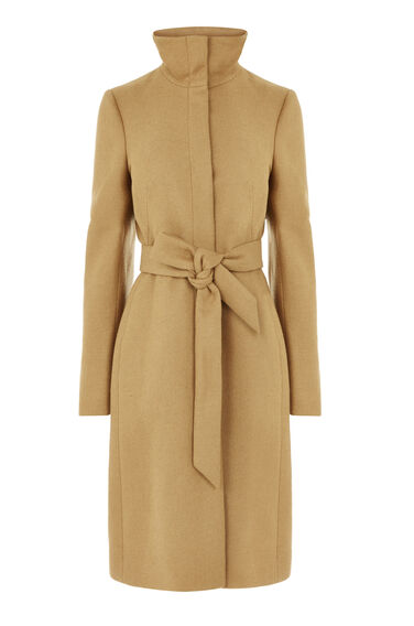 Warehouse, Clean Funnel Belted Coat Camel 0