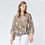 Warehouse, WARP PRINT RUCHED SLEEVE TOP Purple Pattern 1