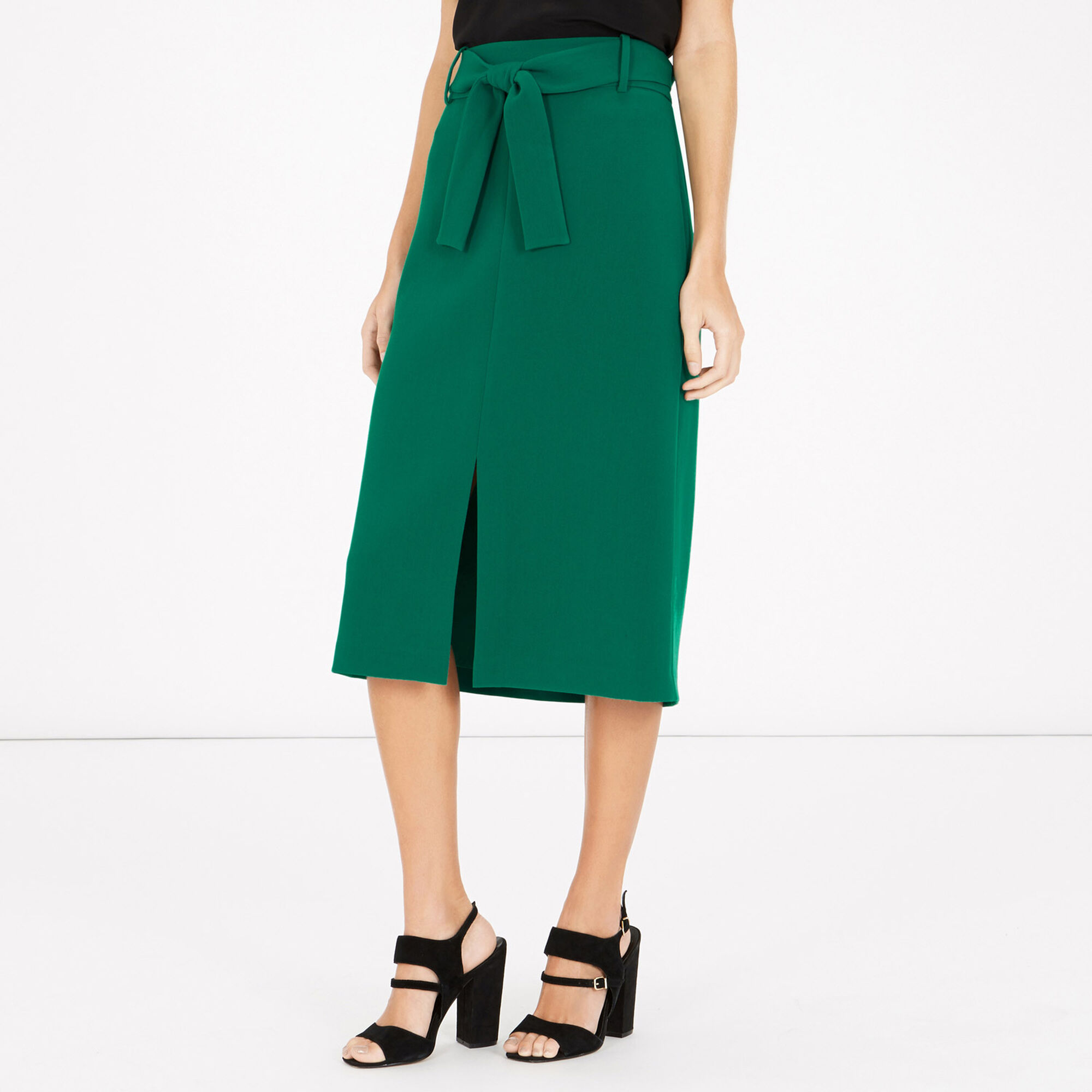 Warehouse, BELTED MIDI SKIRT Bright Green 1