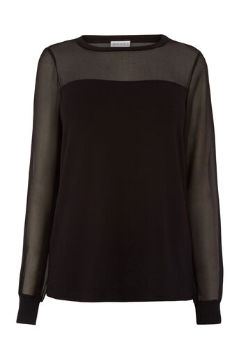 Warehouse, SHEER SLEEVE WOVEN MIX TOP Black 0