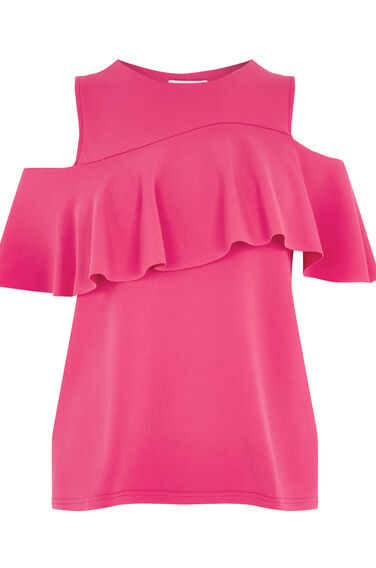 Warehouse, CREPE FRILL TOP Bright Pink 0