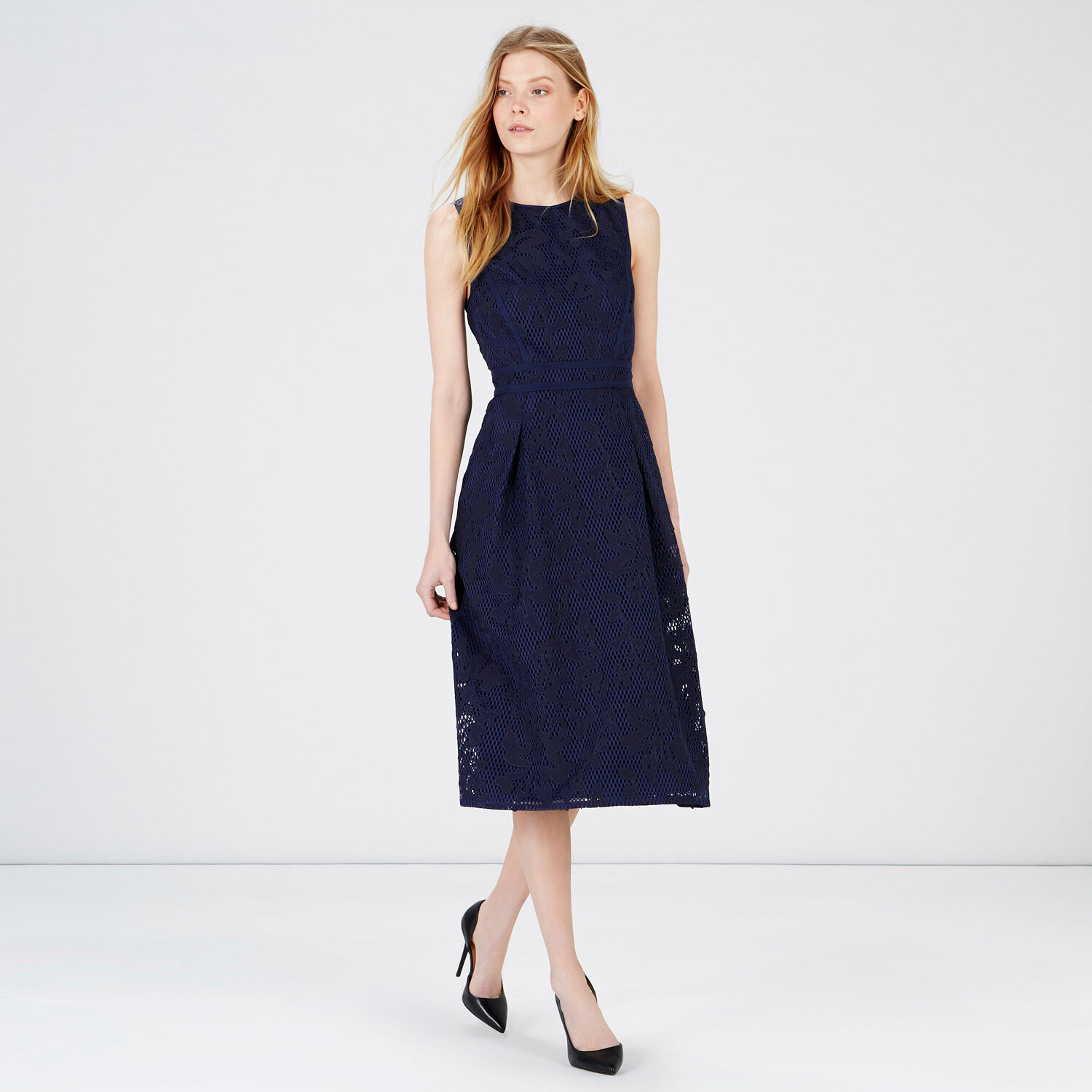 Warehouse, APPLIQUE LACE MIDI DRESS Navy 1