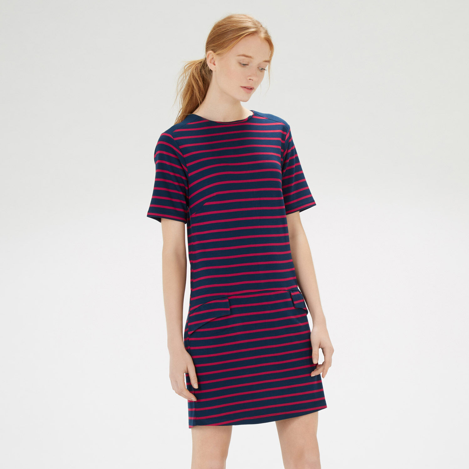 Warehouse, STRIPE PONTE SHIFT DRESS Blue Stripe 1