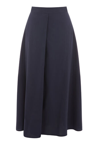 Warehouse, FULL COTTON MIDI SKIRT Navy 0