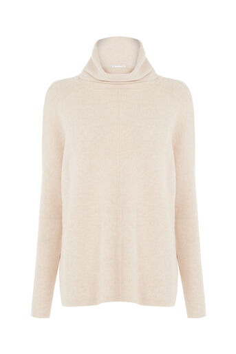 Warehouse, RIB COWL NECK BOXY JUMPER Stone 0