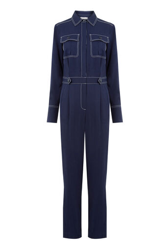 Warehouse, TOPSTITCH JUMPSUIT Navy 0