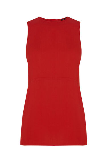 Warehouse, CREPE TUNIC SHELL TOP Bright Red 0