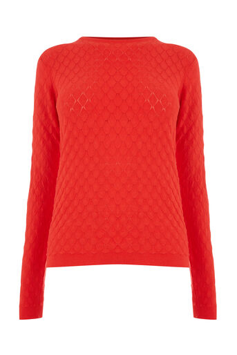 Warehouse, SCALLOP STITCH JUMPER Bright Red 0