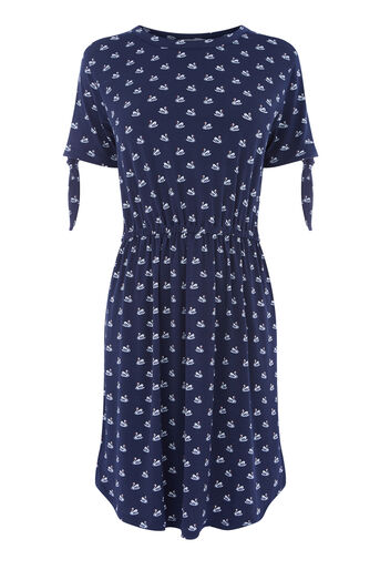 Warehouse, SWAN PRINT DRESS Navy 0