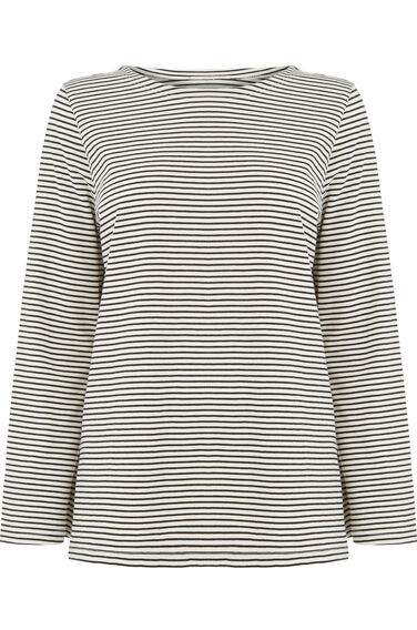 Warehouse, STRIPE BELL SLEEVE TOP Black 0