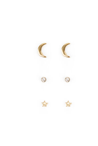 Warehouse, MOON AND STAR EARRING PACK Gold Colour 0