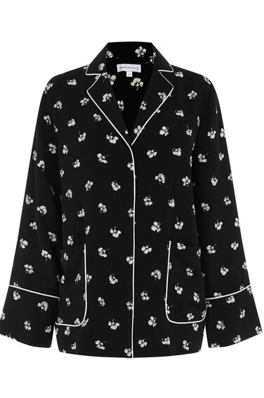Warehouse, DANDY MONO PYJAMA BLOUSE Black 0