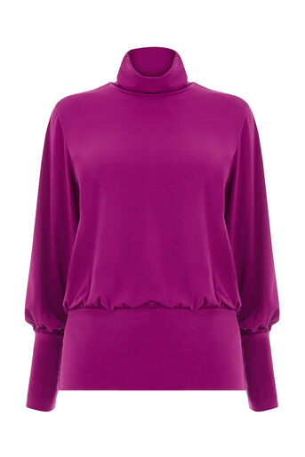 Warehouse, SLINKY RUCHED POLO TOP Bright Purple 0