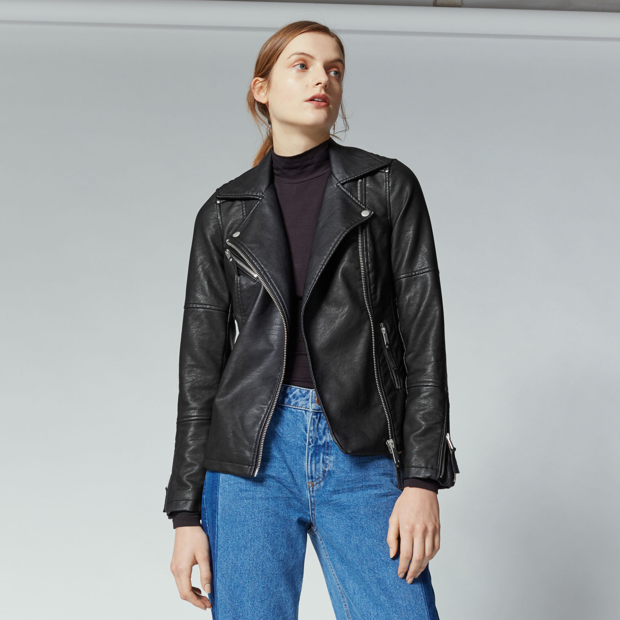 Warehouse, Faux Leather Biker Jacket Black 1