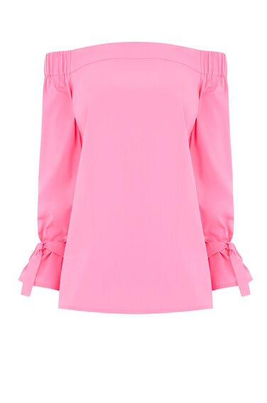 Warehouse, TIE STRAP BARDOT TOP Bright Pink 0