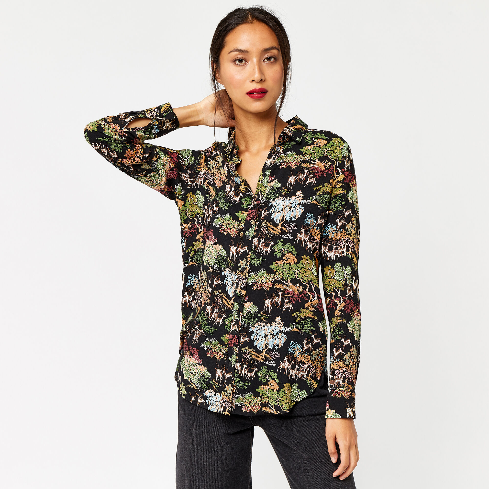 Warehouse, DEER WOODLAND CASUAL SHIRT Black Pattern 1