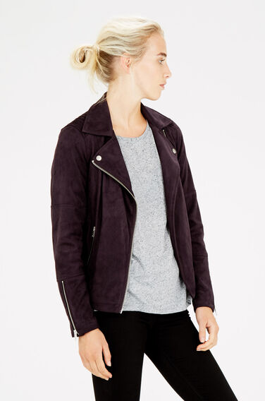 Warehouse, Suedette Biker Jacket Dark Red 0