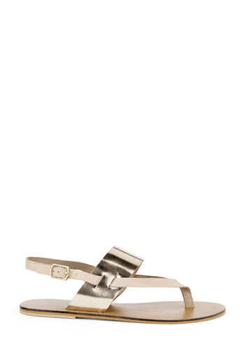 Warehouse, CONTRAST TOE POST SANDAL Silver Colour 0