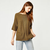Warehouse, RIB PANEL KNITTED TOP Mustard 1