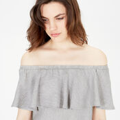 Warehouse, OFF SHOULDER RUFFLE TOP Light Grey 4