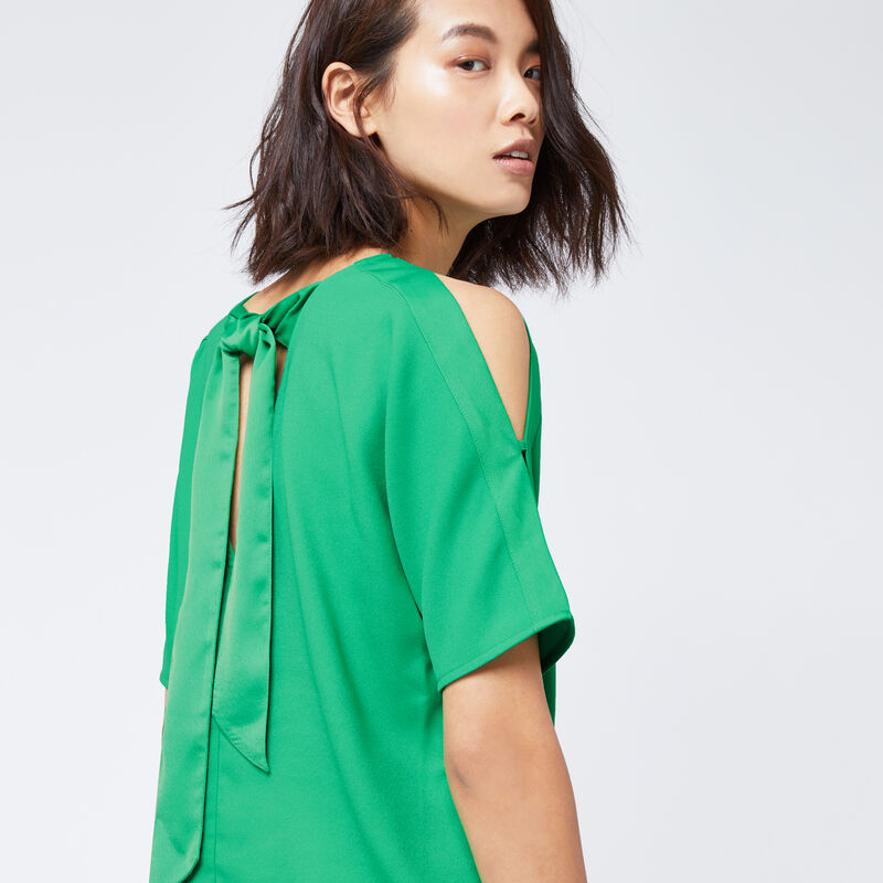 Warehouse, TIE BACK SLEEVE DETAIL TOP Bright Green 1