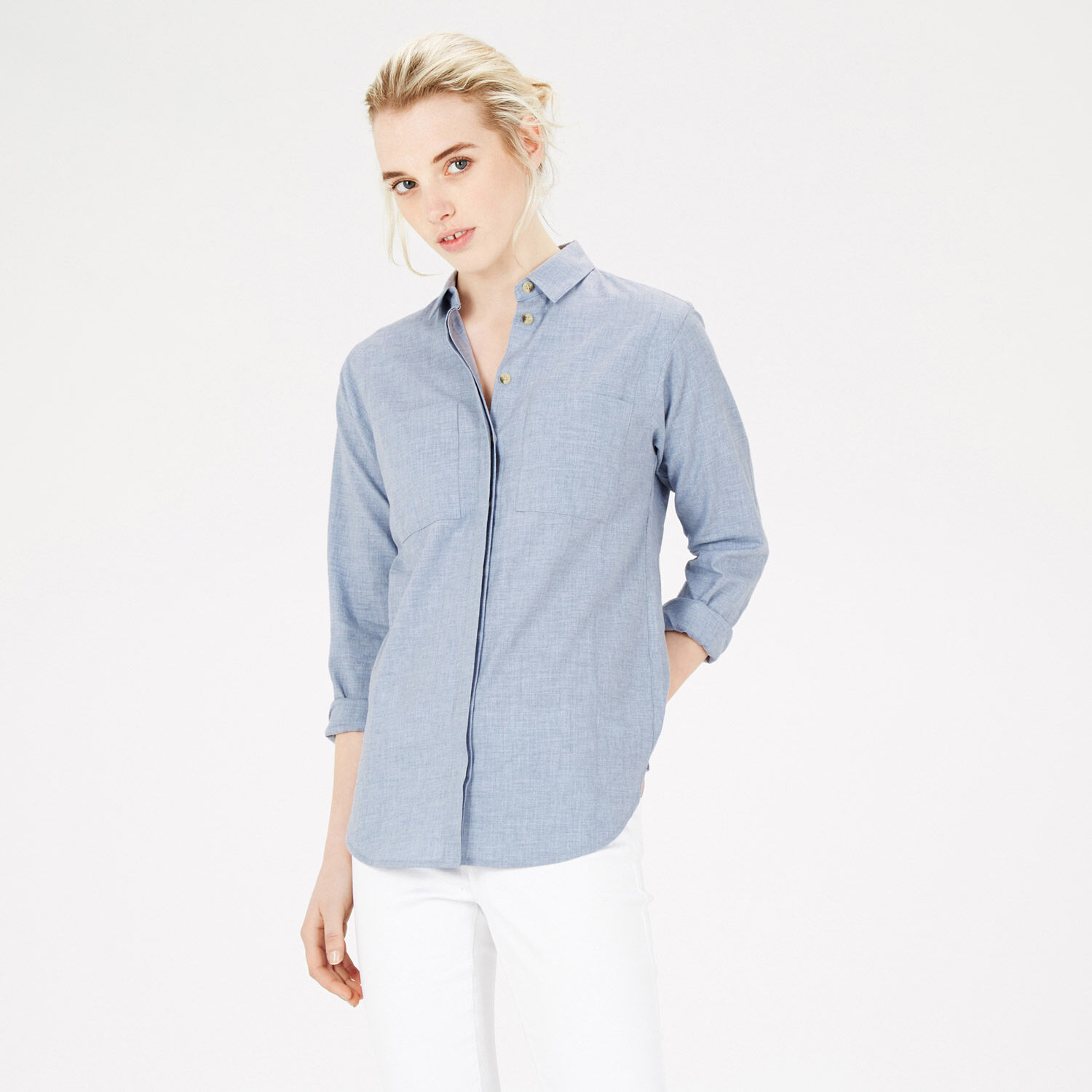 Warehouse, Relaxed Curved Hem Shirt Bright Blue 1