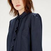 Warehouse, Lace Collar Ruffle Shirt Navy 4