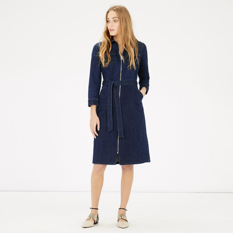 Zip front belted shirt dress warehouse for Zip up dress shirt