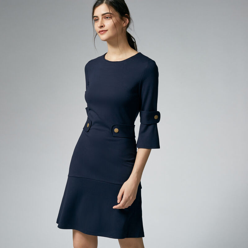 Warehouse, PONTE POPPER DRESS Navy 1