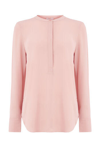 Warehouse, LONG SLEEVE BUTTON SIDE BLOUSE Light Pink 0