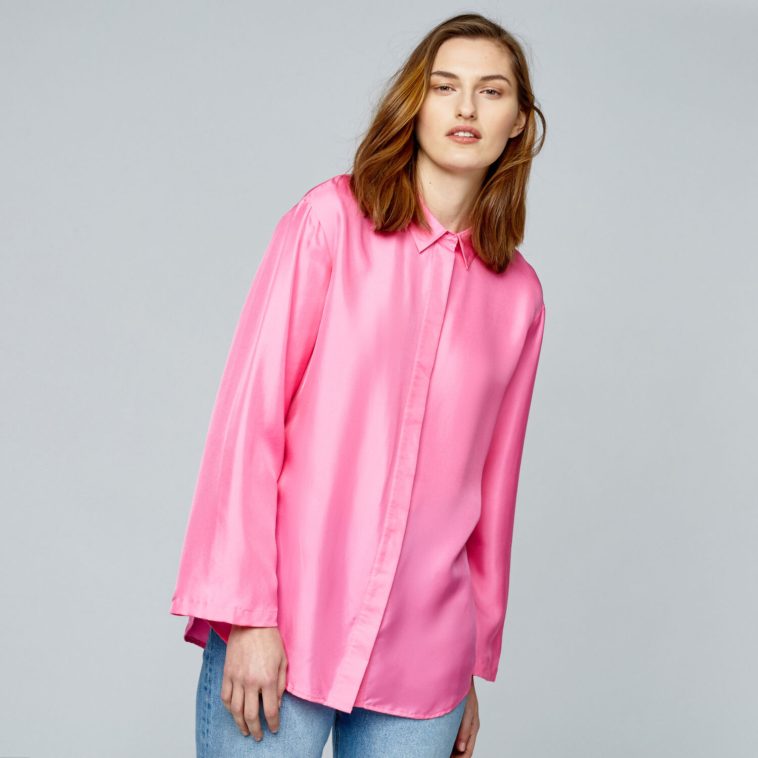 Warehouse, PLAIN SILK BLOUSE Bright Pink 1